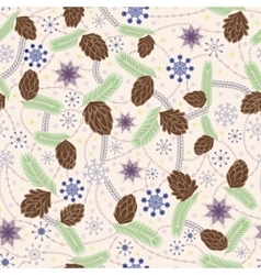Snowflake and cones seamless pattern vintage vector image vector image