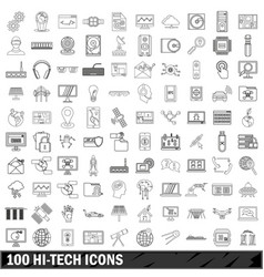 100 hi-tech icons set outline style vector