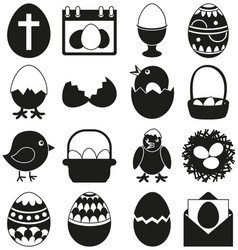 16 black and white easter elements set vector