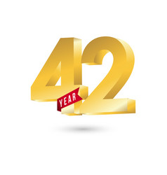 42 year anniversary template design vector