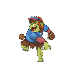 A baseball troll throwing a ball vector