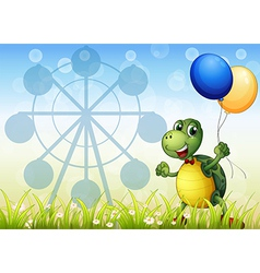 A turtle with two balloons at the carnival vector