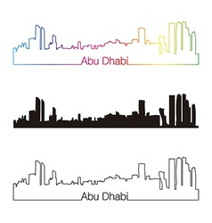 Abu Dhabi skyline linear style with rainbow vector image