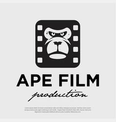 ape face film production hipster modern logo vector image