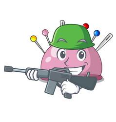 Army wicker basket on a pincushion cartoon vector