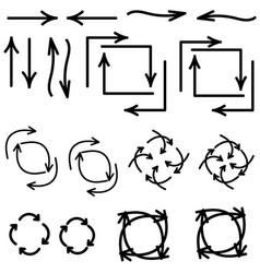 arrows different direction black color vector image