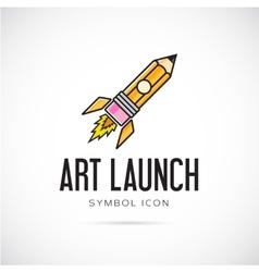 art launch pencil rocket concept symbol icon vector image