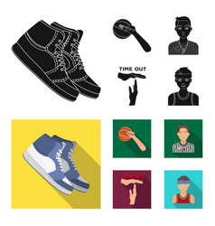 basketball and attributes black flat icons in set vector image