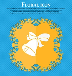 bell icon Floral flat design on a blue abstract vector image