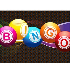 bingo balls and neon waves on metallic background vector image