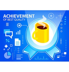 bright emblem and coffee on blue background vector image