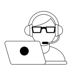 call center customer service black and white vector image