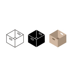 Carton box icons flat black and linear cardboard vector