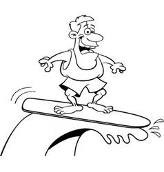 Cartoon smiling man surfing vector image