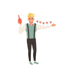 Cheerful bartender pouring alcoholic cocktails vector