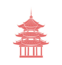 chinese temple with pagoda travel sticker isolated vector image