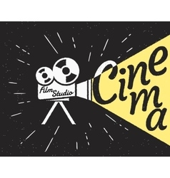 Cinema projector with yellow light hipster vector