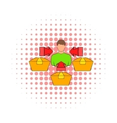 Client and payment terminals icon comics style vector image