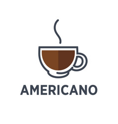coffee americano drink steam cup flat cafe vector image