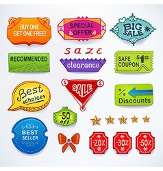 Colored set of promotional sales english text vector image