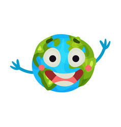 cute cartoon laughing earth planet emoji happy vector image