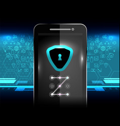 Cyber security lock phone vector