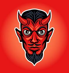 Devil head colored with white stroke vector