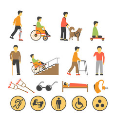 Disabled people and necessary equipments vector