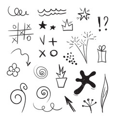 Doddle design elements set hand drawn vector
