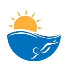 Emblem with sea swimmer and sun isolated on white vector image