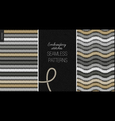 Embroidery satin stitch seamless patterns vector