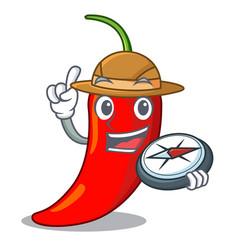 Explorer hot chili pepper on cartoon table vector