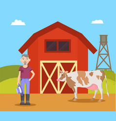 farm and farmer with cow vector image