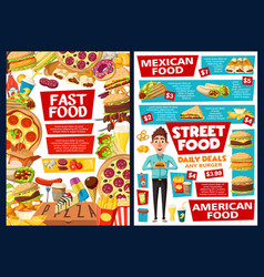 Fast food burgers mexican fastfood menu price vector