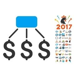 Financial Scheme Icon With 2017 Year Bonus Symbols vector image