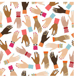 flat seamless pattern with girl hands feminist vector image