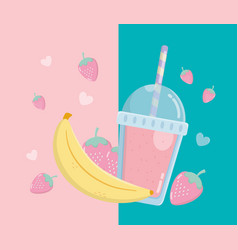 Fresh strawberries and bananas fruits sorbet with vector