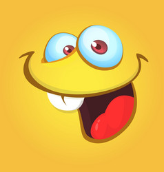 Funny cartoon monster face laughing vector