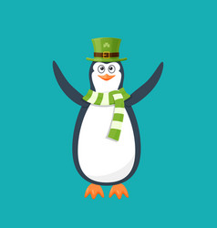 Funny penguin antarctic bird in hat scarf holiday vector