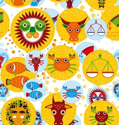 Funny seamless pattern with zodiac sign horoscope vector image