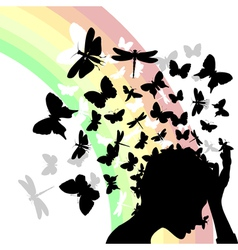 Girl butterflies vector