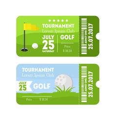golf sport ticket set vector image
