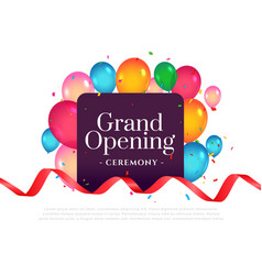 Grand opening invitation ceremony template design vector