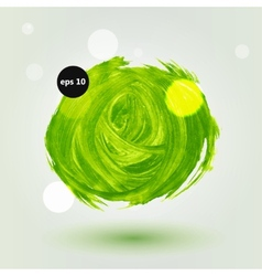 Green grungy abstract hand-painted brush circle vector image