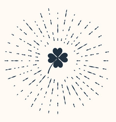 grey four leaf clover icon isolated on beige vector image