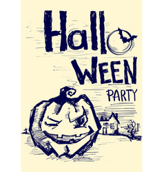 halloween party poster with pumpkin and night vector image