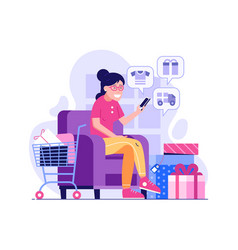 Happy girl shopping online at home vector