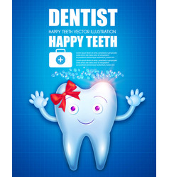 helthy tooth cartoon character stomatology vector image