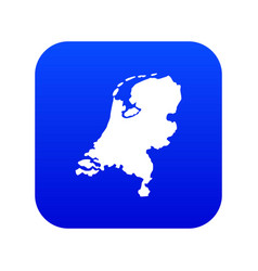 holland map icon digital blue vector image