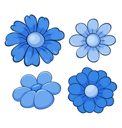 Isolated set flowers in blue vector